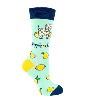 PUPPIE LOVE Brand Adult Crew LEMON PUP - Novelty Socks for Less
