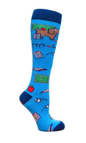 PUPPIE LOVE Brand Adult Knee High TEACHER PUP - Novelty Socks for Less