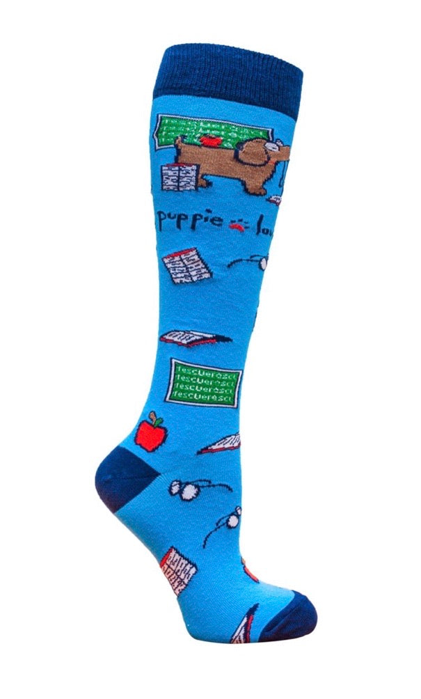 PUPPIE LOVE BY SOCKS N SOCKS Brand Adult Knee High TEACHER PUP