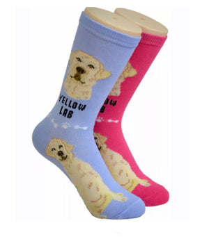FOOZYS Ladies 2 Pair YELLOW LAB DOG Socks - Novelty Socks for Less