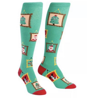 SOCK IT TO ME Ladies Knee High 'HOLIDAY PHOTOS' Socks - Novelty Socks for Less