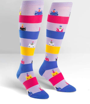 SOCK IT TO ME Ladies Knee High 'HAPPY PURRDAY' CATS - Novelty Socks for Less