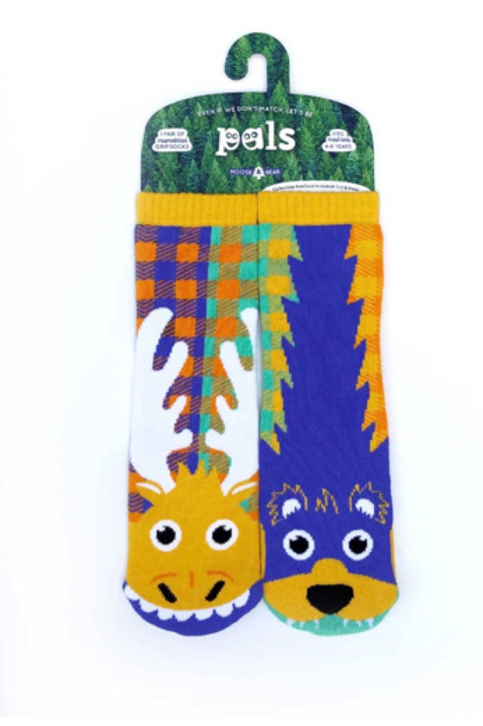 PALS SOCKS Brand Toddler MOOSE & BEAR MISMATCHED GRIPPER Socks