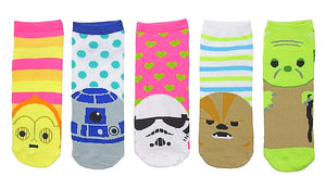 STAR WARS Ladies 5 Pair Of No Show Socks CHEWBACCA, R2-D2, C-3PO