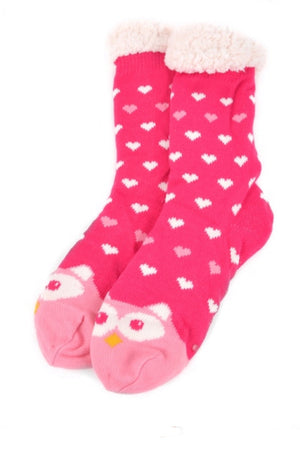 NOLLIA Brand Ladies PINK OWL NON-SKID Sherpa Slipper Socks