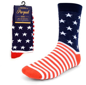 Parquet Brand Men's AMERICAN FLAG STARS/STRIPES Socks - Novelty Socks for Less