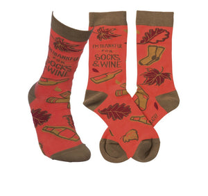PRIMITIVES BY KATHY LADIES SOCKS 'I'M THANKFUL FOR SOCKS & WINE' - Novelty Socks for Less