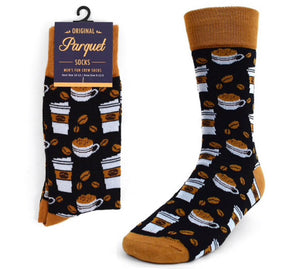 Parquet Brand Mens COFFEE Socks - Novelty Socks for Less