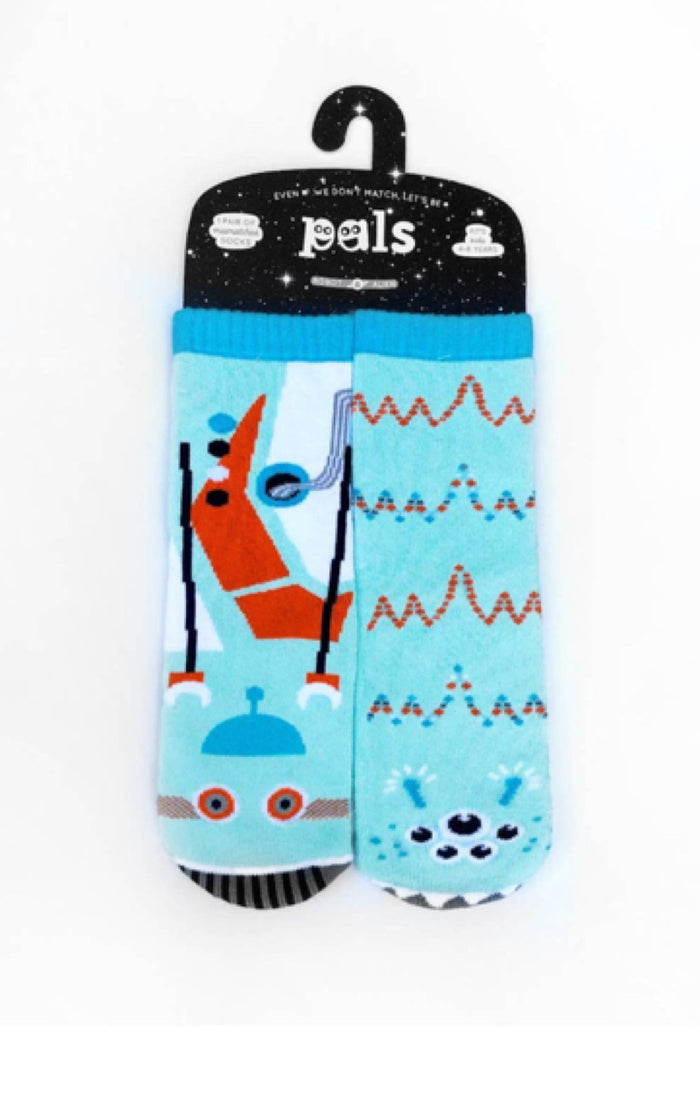 PALS SOCKS Brand KIDS ROBOT & ALIEN MISMATCHED GRIPPER SOCKS