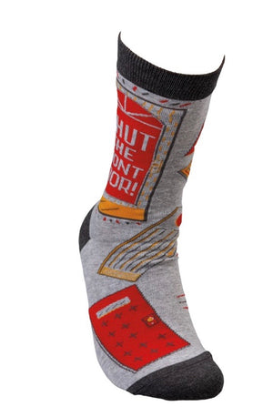 PRIMITIVES BY KATHY Unisex 'SHUT THE FRONT DOOR' Socks OSFM - Novelty Socks for Less
