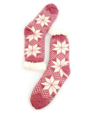 NOLLIA Brand Ladies PINK WITH SNOWFLAKES NON-SKID SLIPPER SOCKS