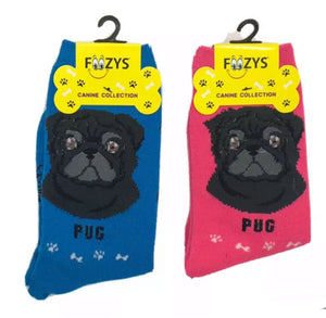 FOOZYS BRAND Ladies 2 Pair BLACK PUG DOG