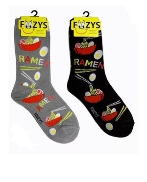FOOZYS Brand Ladies 2 Pair RAMEN NOODLE SOUP Socks - Novelty Socks for Less