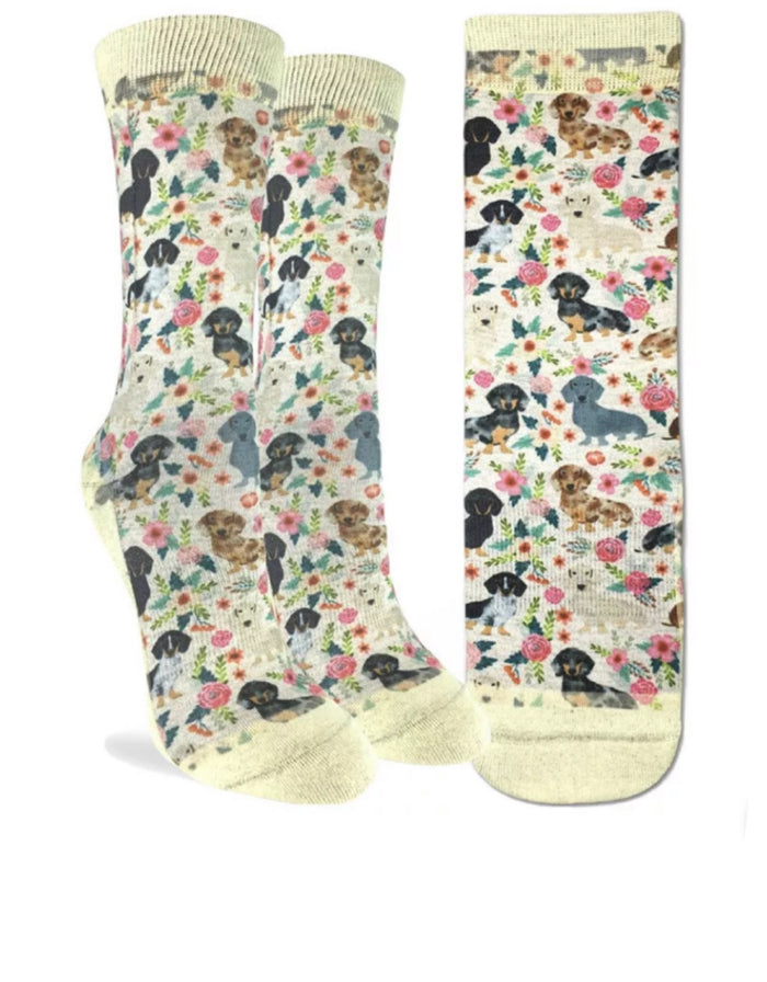 GOOD LUCK SOCK Ladies FLORAL DACHSHUND DOGS