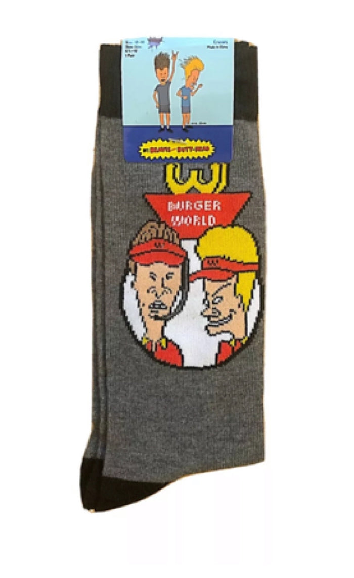 BEAVIS ANS BUTTHEAD MEN'S Socks 'BURGER WORLD'
