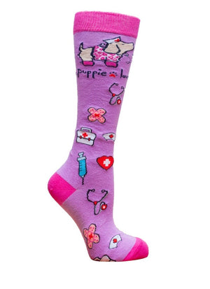 PUPPIE LOVE Brand Adult Knee High NURSE PUP - Novelty Socks for Less