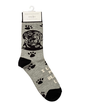 PRIMITIVES BY KATHY Unisex BLACK LAB DOG Socks OSFM - Novelty Socks for Less