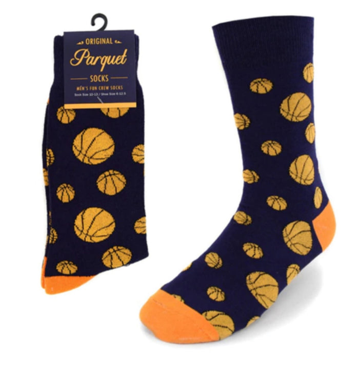 Parquet Brand Men's Socks with BASKETBALLS