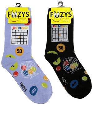FOOZYS Brand Ladies 2 Pair BINGO BOARD GAME Socks - Novelty Socks for Less