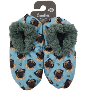 COMFIES Ladies PUG DOG Non-Skid SLIPPERS