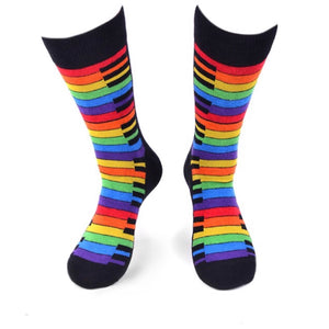 PARQUET BRAND Mens RAINBOW PIANO KEYS Socks - Novelty Socks for Less