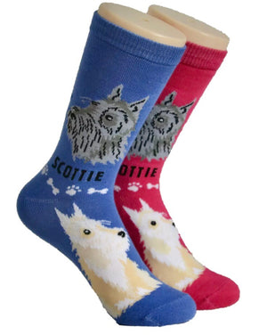 FOOZYS Brand Ladies 2 Pair SCOTTIE Socks - Novelty Socks for Less
