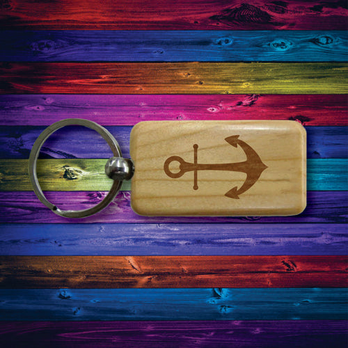 Wooden Keychain Anchor Laser Engraved