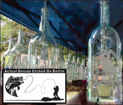 Wine Bottle Candle Holder with Bass Fishing Etching