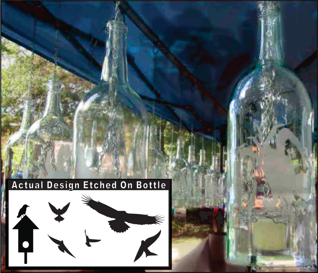 Wine Bottle Candle Holder with Birdhouse Etching