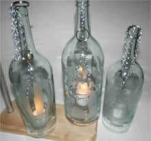 Load image into Gallery viewer, Wine Bottle Candle Holder with Birdhouse Etching