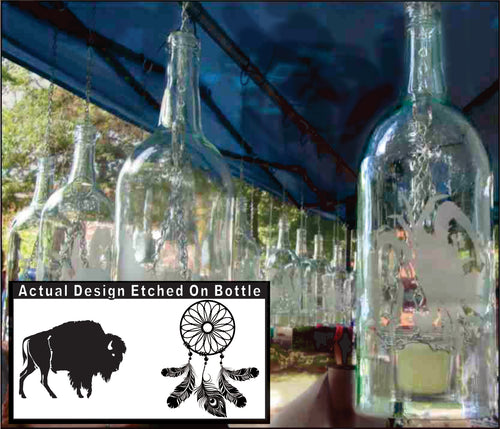 Wine Bottle Candle Holder with Buffalo Dream Catcher Etching