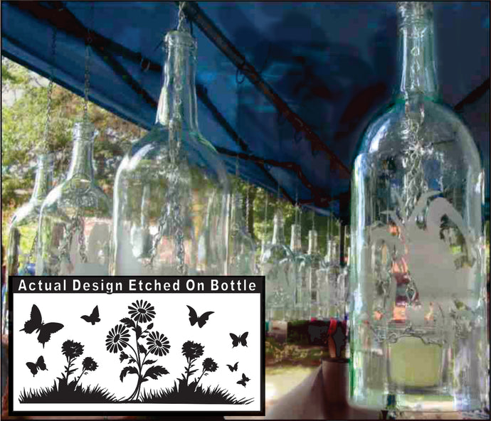 Wine Bottle Candle Holder with Butterflies and Flowers Etching