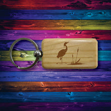 Load image into Gallery viewer, Wooden Keychain Heron Laser Engraved