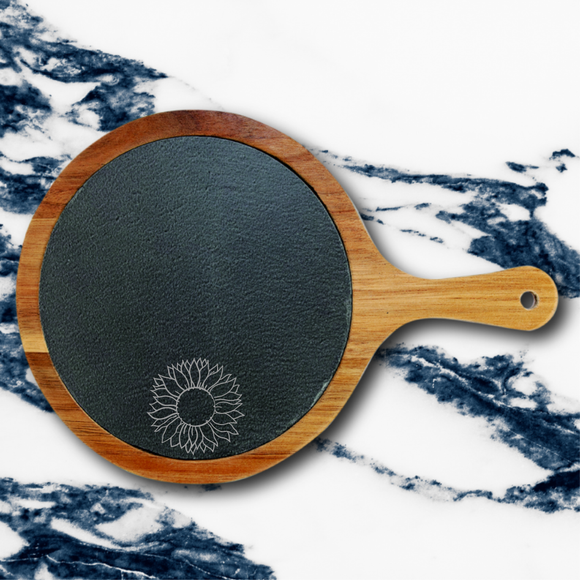 Sunflower | Round Acacia & Slate Serving Board