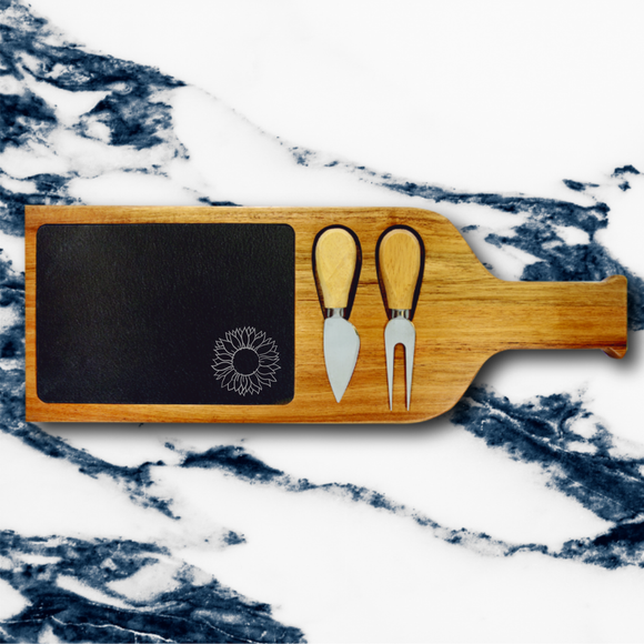 Sunflower | Acacia & Slate Cheese Set With Knives