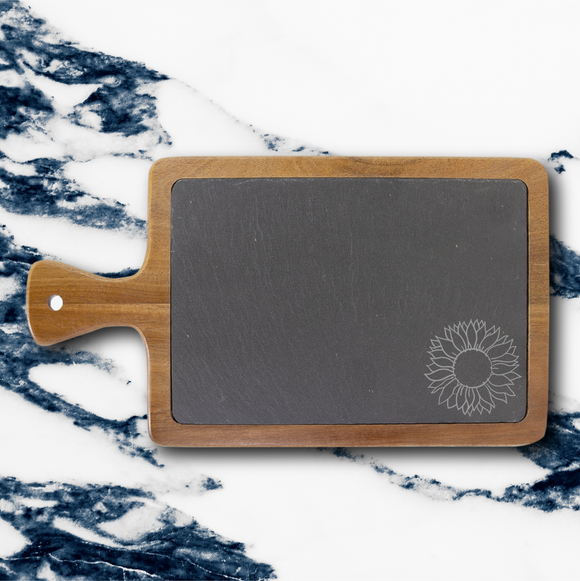 Sunflower | Rectangle Acacia & Slate Serving Board