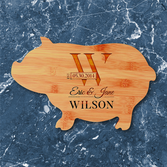 Pig-Shaped Bamboo Cutting Board
