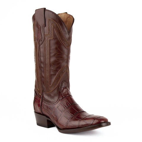"""Stallion"" Handcrafted Alligator Belly Exotic Cowboy Boot - Chocolate"