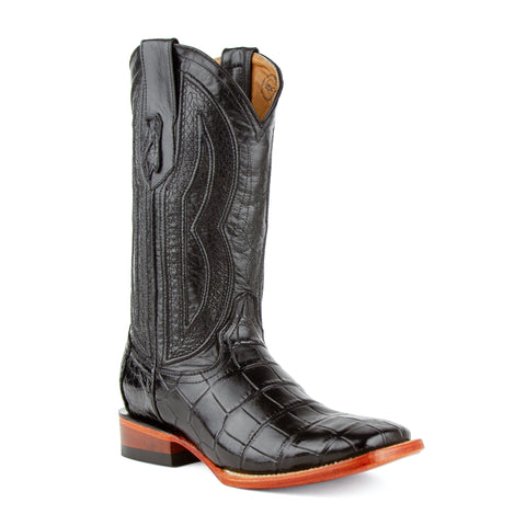 """Stallion"" Handcrafted Alligator Belly Square Toe Black Cowboy Boot"