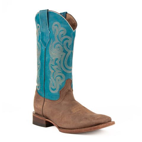 Hunter: Comfortable, Handcrafted Leather Turquoise Boot - Ferrini USA