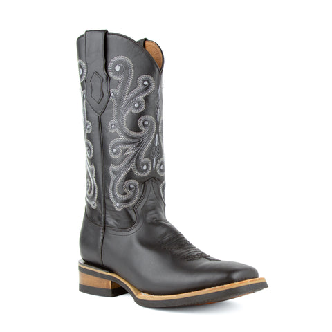 French Calf Black Leather Cowboy Boot with Square Toe - Ferrini Boots
