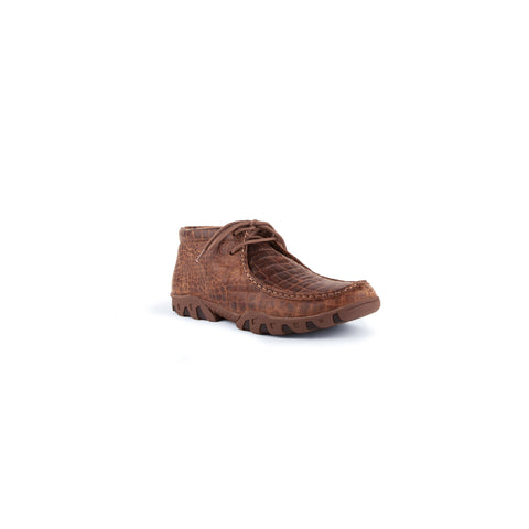"""Rogue"" Men's Exotic Casual Lace Up Driving Moccasin - Brown"