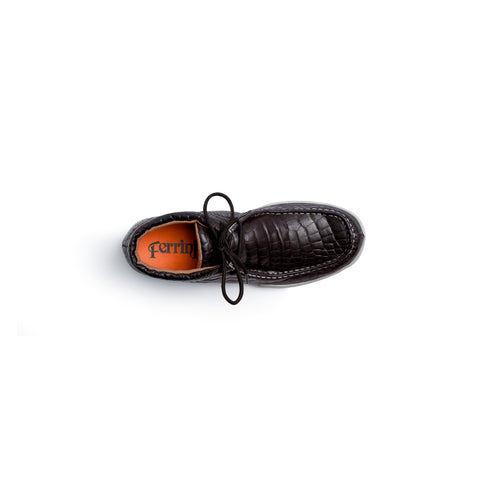 """Rogue"" Men's Exotic Casual Lace Up Driving Moccasin - Black 