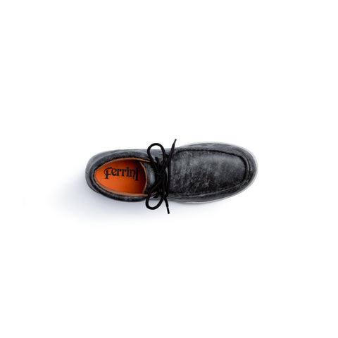 """Rogue"" Men's Casual Lace Up Driving Moccasin - Smoky Black 