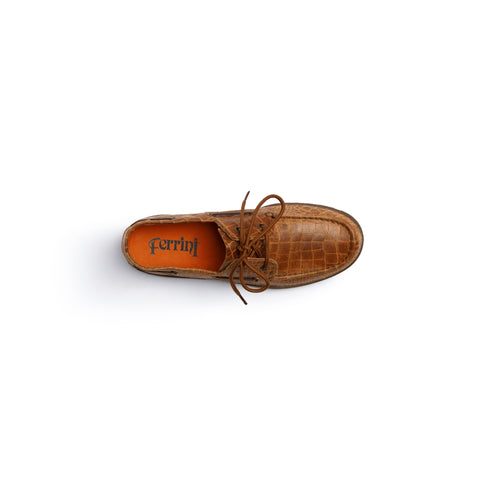 Comfortable Brown Leather Loafer with Brown Laces | Ferrini USA