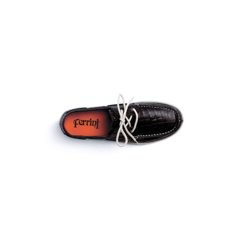 Comfortable Black Leather Loafer with Cream Laces | Ferrini USA