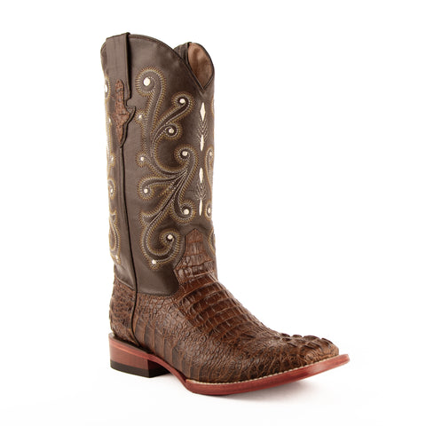 Mens Brown Crocodile Belly Print Exotic Leather Boot. Traditional look perfect in the arena, business meetings or social settings. Truly a boot for any occasion.