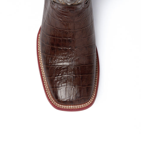 """Mustang"" - Handcrafted Rich Chocolate Brown Leather Alligator Western Boots 