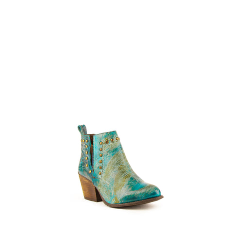 """Stella"" Ladies Turquoise Leather Cowboy Bootie 