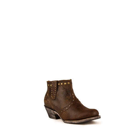 """Sandy"" Ladies Leather Ankle Bootie - Dark Chocolate 
